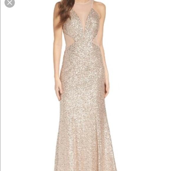 Aidan Mattox Dresses   Nwt Gold Sequin Gown   Poshmark